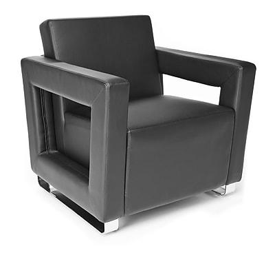 OFM™ Distinct Series Polyurethane Soft Seating Lounge Chair With Chrome Feet, Black