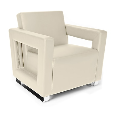 OFM™ Distinct Series Polyurethane Soft Seating Lounge Chair With Chrome Feet, Cream