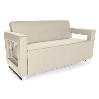 OFM™ Distinct Series PVC-Free Polyurethane Soft Seating Sofa With Chrome Feet, Cream