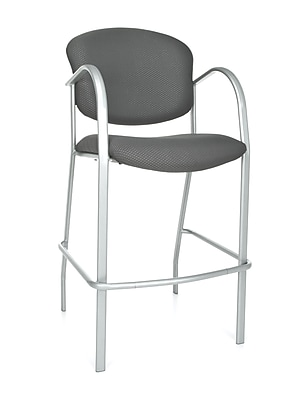 OFM Danbelle 46'' Contemporary Legged Base Fabric Bar Stool, Graphite (845123051696)