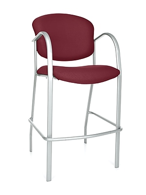 OFM Danbelle 46'' Contemporary Legged Base Fabric Bar Stool, Burgundy (845123051719)