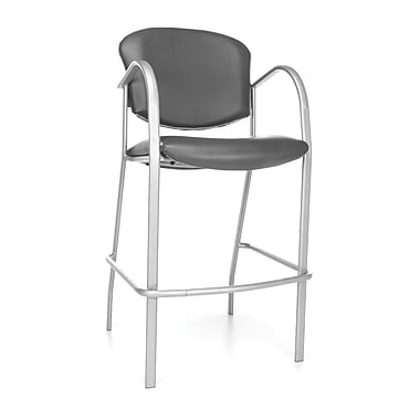 OFM Danbelle 46'' Contemporary Legged Base Vinyl Bar Stool, Charcoal (845123051740)