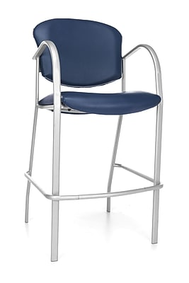 OFM Danbelle 46'' Contemporary Legged Base Vinyl Bar Stool, Navy (845123051757)