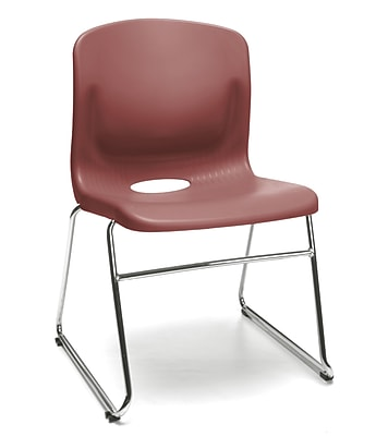 OFM Multi-Use Stack Chair, Plastic Seat and Back, Wine, Pack of 4, (315-4PK-A10)