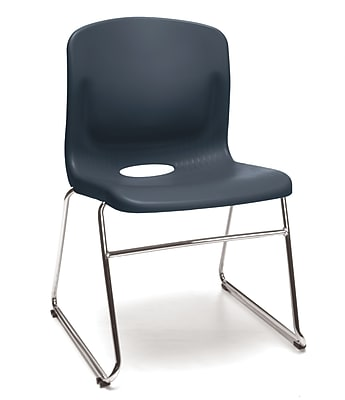 OFM Multi-Use Stack Chair, Plastic Seat and Back, Navy, Pack of 4, (315-4PK-A11)