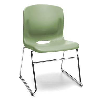 OFM Polypropylene Sled Base Stack Chair With Lumbar Support, Olive (845123051542)