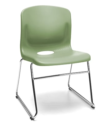 OFM Multi-Use Stack Chair, Plastic Seat and Back, Olive, Pack of 4, (315-4PK-A15)