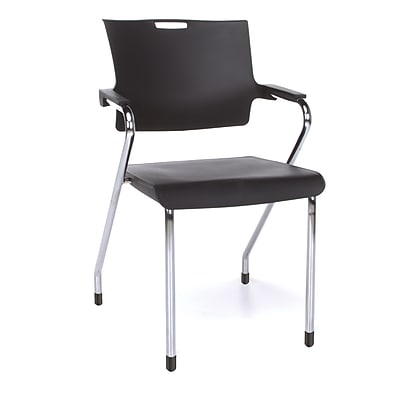 OFM™ Smart Series Plastic Stack Chair With Arms, Black