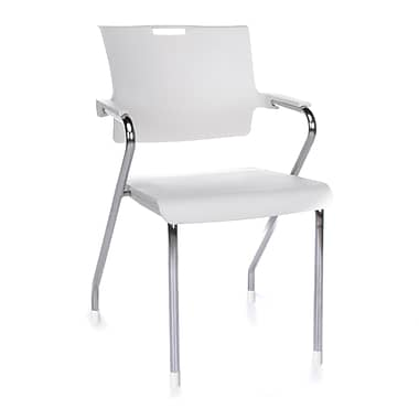 OFM Smart Series Plastic Stack Chair With Arms, White (845123051801)