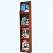 Wooden Mallet 4 Magazine / 8 Brochure Wall Display; Dark Red Mahogany