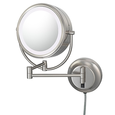Kimball & Young Kimball & Young NeoModern LED Lighted Plug-in Wall Mirror; Brushed Nickel