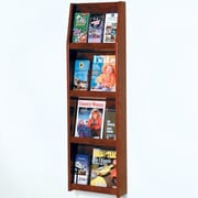 Wooden Mallet 4 Magazine / 12 Brochure Wall Display; Dark Red Mahogany