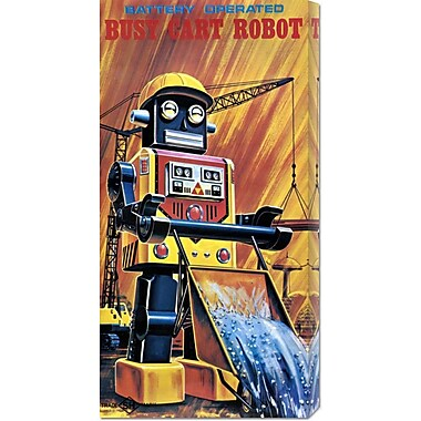 Global Gallery 'Busy Cart Robot' by Retrobot Vintage Advertisement on Wrapped Canvas