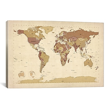 iCanvas 'Map of The World V' by Michael Tompsett Graphic Art on Canvas; 26'' H x 40'' W x 0.75'' D