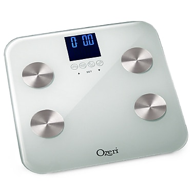 Ozeri Touch 440 lbs Total Body Bath Scale - Auto Recognition and Infant Tare Technology; White
