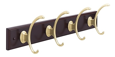 Amerock Wall Mounted Hook Rack; Mahogany/Brushed Bronze