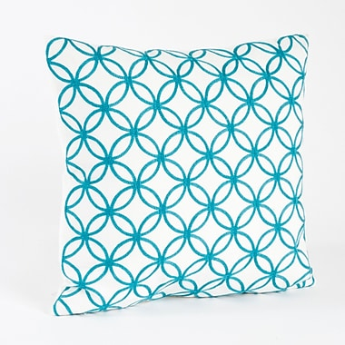 Saro Infinity Design Embroidered Cotton Throw Pillow; Turquoise