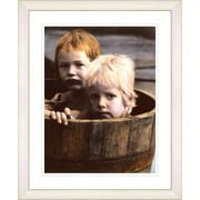 Studio Works Modern ''Brothers in a Tub'' by Mia Singer Framed Photographic print; Creamy White