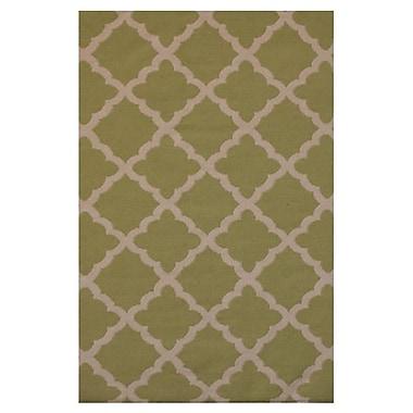 MOTI Rugs Flat Weave Green Area Rug; 5' x 8'
