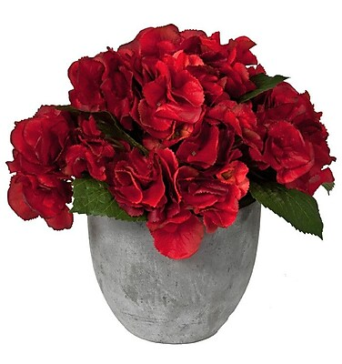 Creative Branch Faux Red Hydrangea in Vase