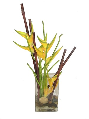 Creative Branch Faux Heliconia in Decorative Vase
