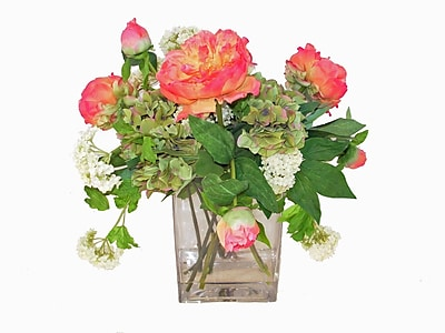 Creative Branch Faux Pink Peonies and Snowballs in Glass Vase