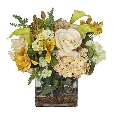 Creative Branch Faux Mixed Flowers and Succulents in Glass Vase