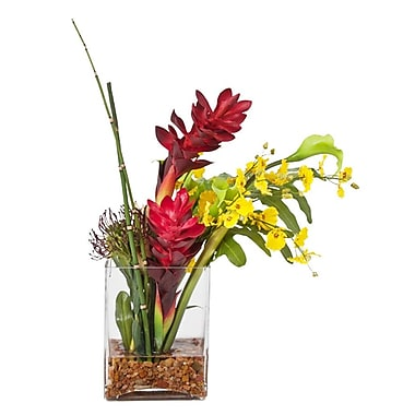 Creative Branch Faux Tropical Flower in Glass Vase