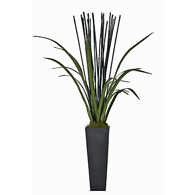 Creative Branch Natural Bamboo and Faux Cymbidium Foliage Floor Plant in Planter