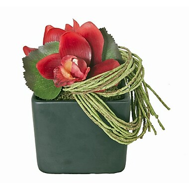 Creative Branch Faux Red Orchid in Ceramic Vase