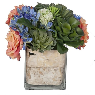 Creative Branch Faux Mixed Flowers and Succulents in Decorative Vase