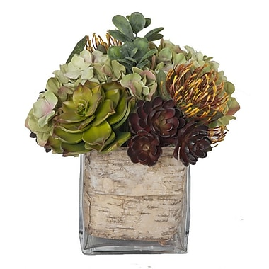 Creative Branch Faux Flowers w/ Succulents in Glass Vase