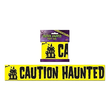 Ruban de fête Caution Haunted, 3 po x 20 pi, paq./6