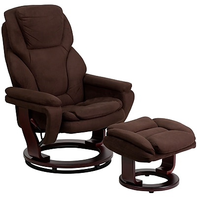 Flash Furniture Microfiber Recliner and Ottoman With Swiveling Mahogany Wood Base, Brown