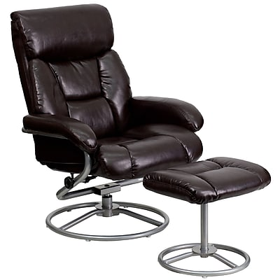 Flash Furniture Leather Recliner And Ottoman With Metal Base, Brown
