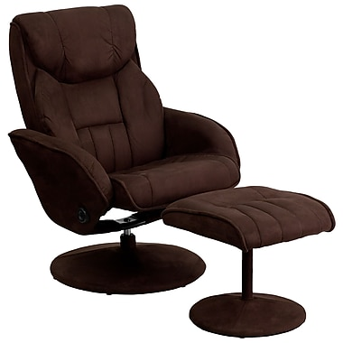 Flash Furniture Microfiber Recliner and Ottoman With Circular Leather Wrapped Base, Brown