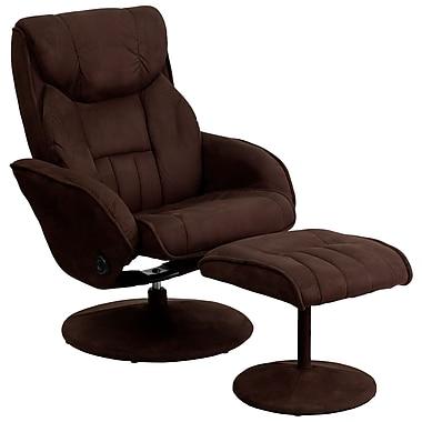 Flash Furniture – Fauteuil inclinable en microfibres et pouf circulaire en à base recouverte de cuir, brun