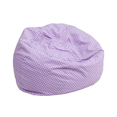 Flash Furniture Cotton Twill Small Dot Kids Bean Bag Chair, Lavender