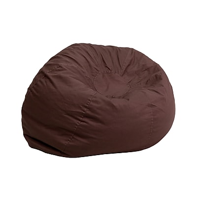 Flash Furniture Cotton Twill Small Solid Kids Bean Bag Chair, Brown