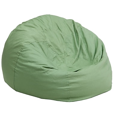 Flash Furniture Cotton Twill Oversized Solid Bean Bag Chair, Green