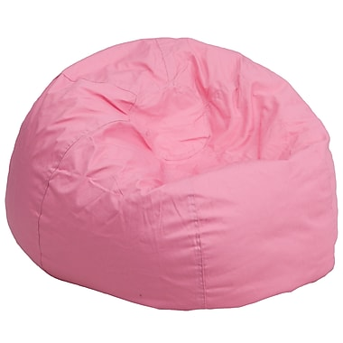 Flash Furniture Cotton Twill Oversized Solid Bean Bag Chair, Light Pink