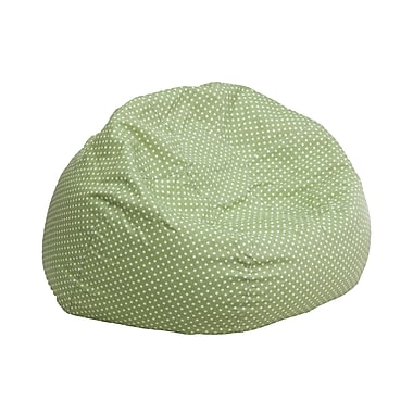 Flash Furniture Cotton Twill Small Dot Kids Bean Bag Chair, Green