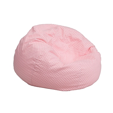 Flash Furniture Cotton Twill Small Dot Kids Bean Bag Chair, Light Pink