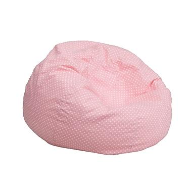 Flash Furniture – Fauteuil poire pour enfants en coton brossé, petit pois, rose pâle