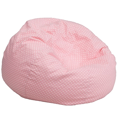 Flash Furniture Cotton Twill Oversized Dot Bean Bag Chair, Light Pink