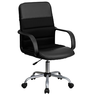 Flash Furniture LFW61B2 Leather Soft Mid-Back Task Chair with Fixed Arms, Black