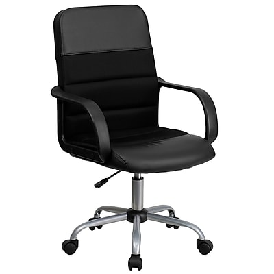 Flash Furniture LeatherSoft Leather Computer and Desk Office Chair, Fixed Arms, Black (LFW61B2)