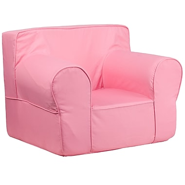 Flash Furniture Cotton Twill Oversized Solid Kids Chair, Light Pink
