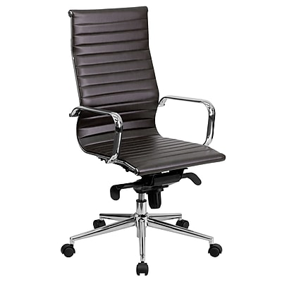 Flash Furniture LeatherSoft Leather Executive Office Chair, Fixed Arms, Brown (BT9826HBRN)