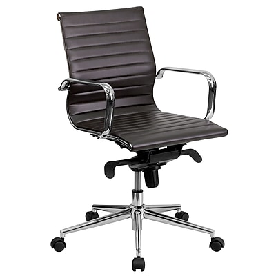Flash Furniture LeatherSoft Leather Conference Office Chair, Fixed Arms, Brown (BT9826MBRN)